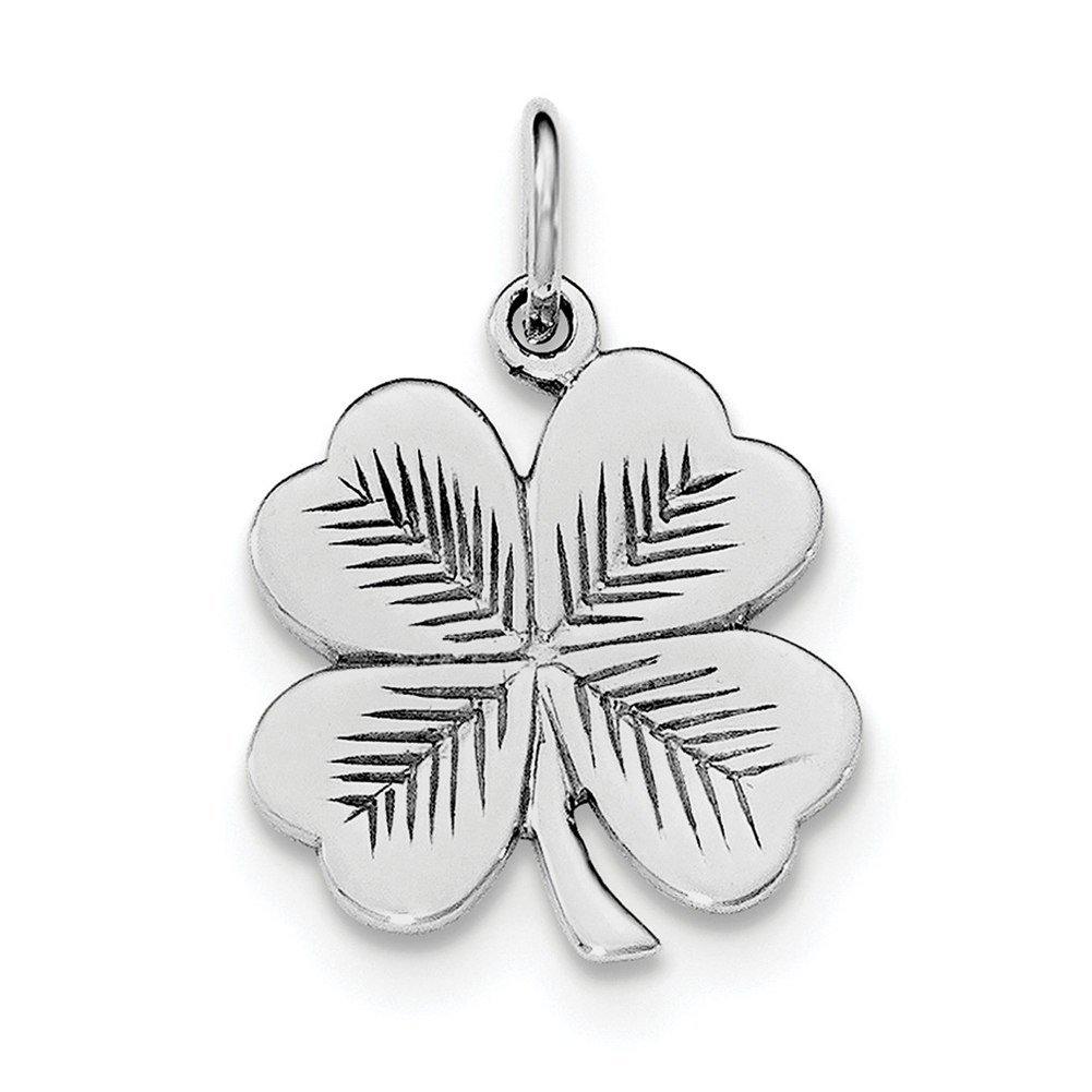 Lex /& Lu Sterling Silver w//Rhodium Polished//Textured 4 Leaf Clover Pendant