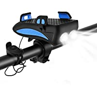 CS Force Bike Phone Mount USB Rechargeable Bike Light Set Adjustable Bicycle Holder Handlebar Bicycle Headlight with…