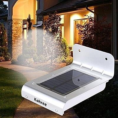 Kohree 16 LED Super Bright Waterproof Solar Powered Motion Sensor Outdoor Garden Patio Path Wall Mount Gutter Fence Light Security Lamp Light (Medium) New Version