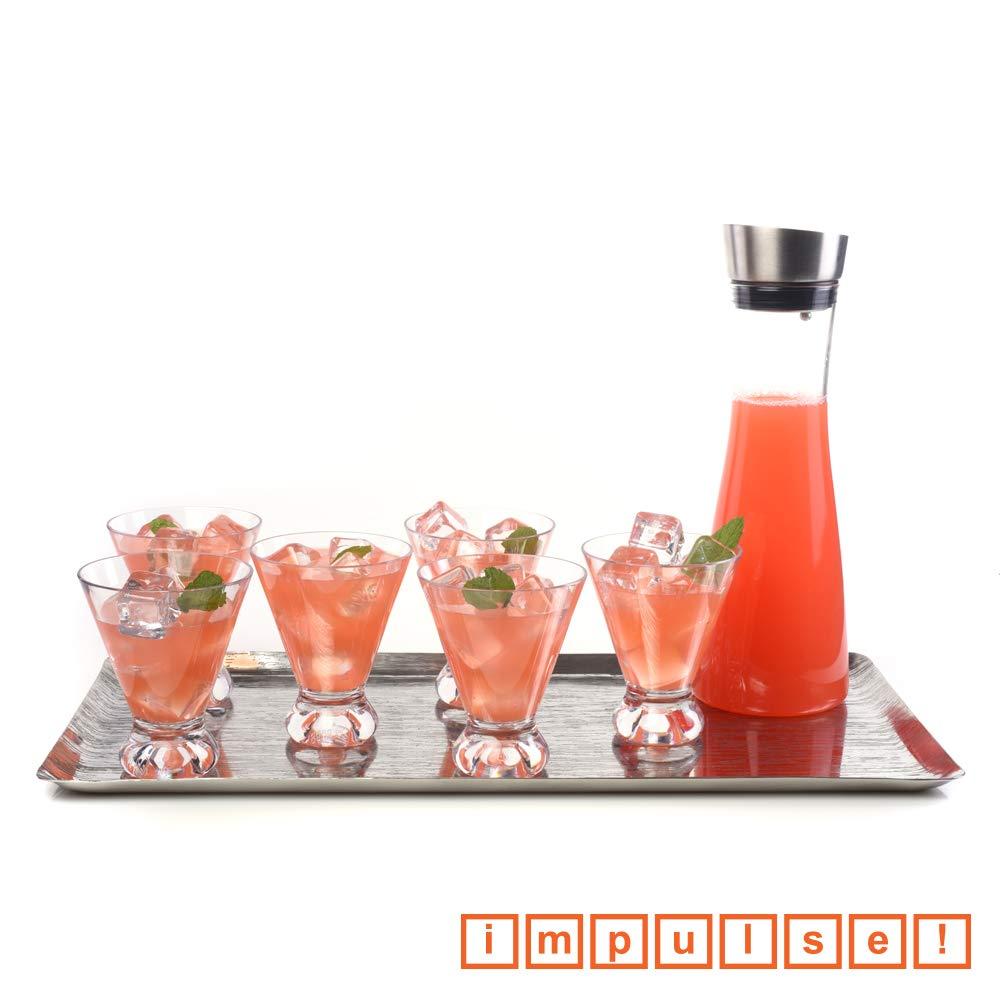 IMPULSE! Dorado Stemless Unbreakable Tritan Martini Glass, Set of 6