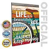 Cheap Marla Rae 'Life Is A Beautiful Ride' Chic Bicycle Country Wall Art Plaque – Rustic Farmhouse Decor for Home – Famous Inspirational Bike Quotes – Gifts for Cyclists (12″ x 16″)
