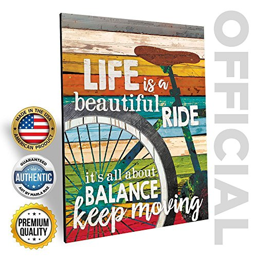 Day Wall Plaque (Marla Rae Mother's Day Gift Life Is A Beautiful Ride' Chic Bicycle Country Wall Art Plaque - Rustic Farmhouse Decor for Home - Famous Inspirational Bike Quotes - Gifts for Cyclists (12