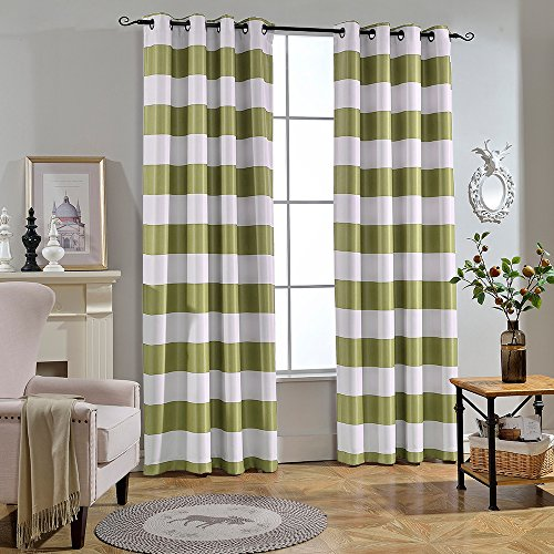 Melodieux Stripe Fashion Room Darkening Blackout Grommet Top Curtains, 52 by 96 Inch, Green (1 - Green Black Stripes