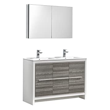 Fresca Allier Rio 48 Ash Gray Double Sink Modern Bathroom Vanity W