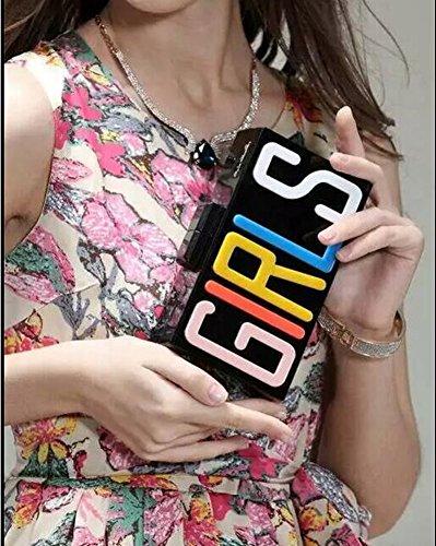 Femme Lucite Shiratori à rectangulaire Acrylique de Partie Soirée Noir Main Embrayage Sac Filles Sac 40gqd0Z
