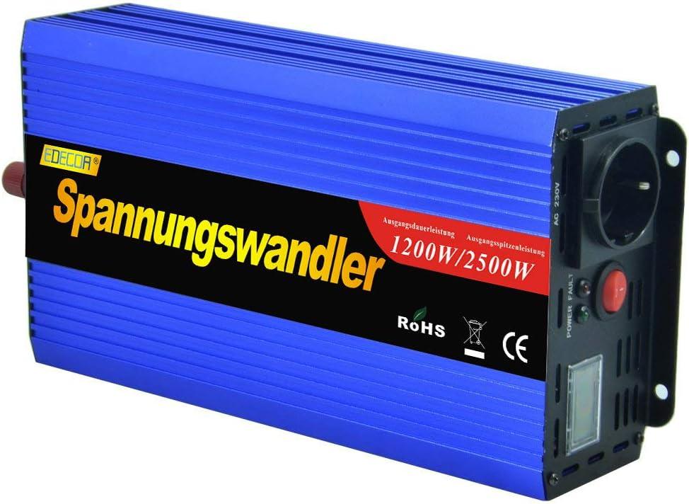 EDECOA inversor 12v 220v Convertidor 1200w de Onda modificada transforma 12v a 220v con Pantalla LCD