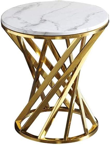Wmdxtm Marmo Rotondo Tavolino Tavolo Da Salotto Balcone Sala Metallo Dorato Base 50 55cm Amazon It Casa E Cucina