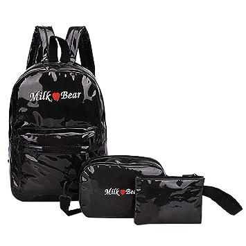 3367c29716 3Pcs Fashion Women Laser Student School Backpacks+Crossbody Bag+Clutch Bag