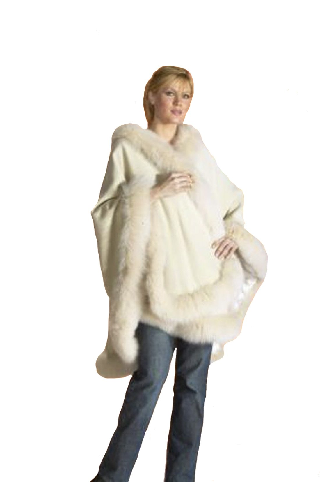 Cashmere Pashmina Group: Cashmere Cape with genuine Fox Fur Trim all around - Ivory