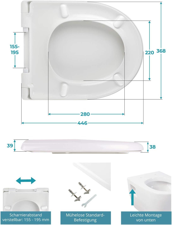 /überlappend Calmwaters/® Antibakterieller WC Sitz f/ür Keramag iCon 204000 /& 204060 26LP5381 Wei/ß D-Form mit rostbest/ändigen Metall-Scharnieren aus Duroplast