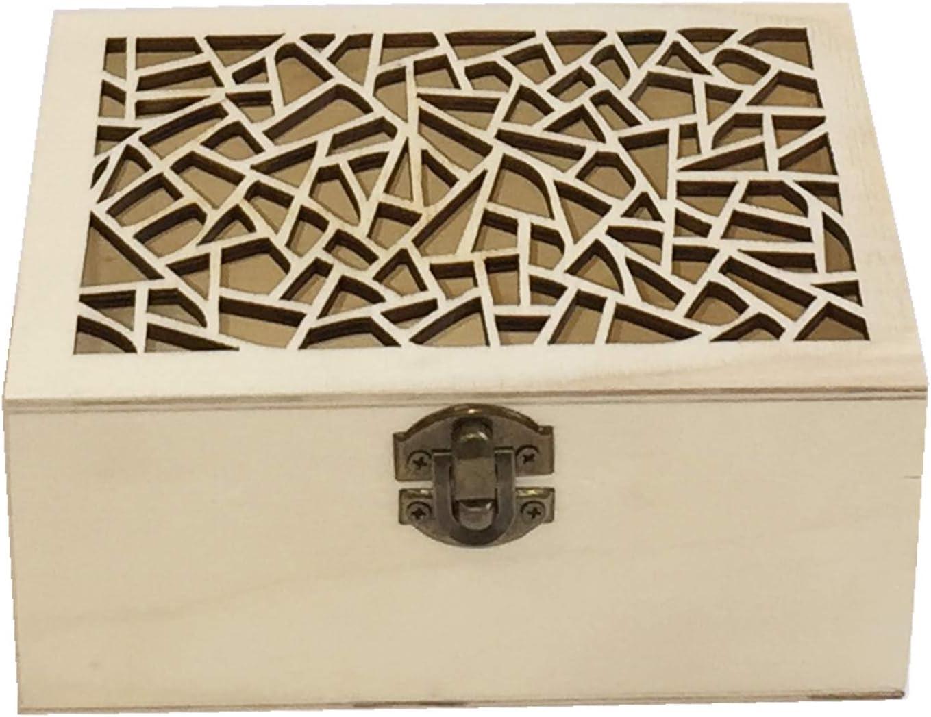 Caja de Madera artesanía con Tapa Forma Grieta: Amazon.es: Hogar