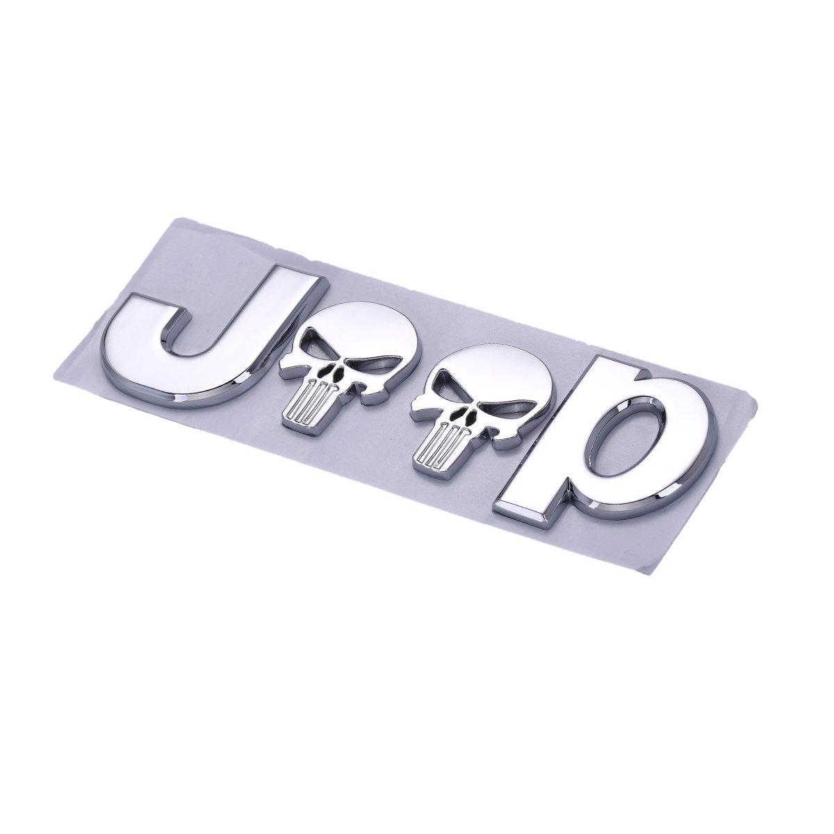 TK-KLZ 4Pcs for Jeep Skull Logo Chrome Metal Sports Style Car License Plate Frame Universal Bolt Screws for Chrysler JEEP Grand Cherokee Wrangler Compass Cherokee Renegade Patriot Grand Comander
