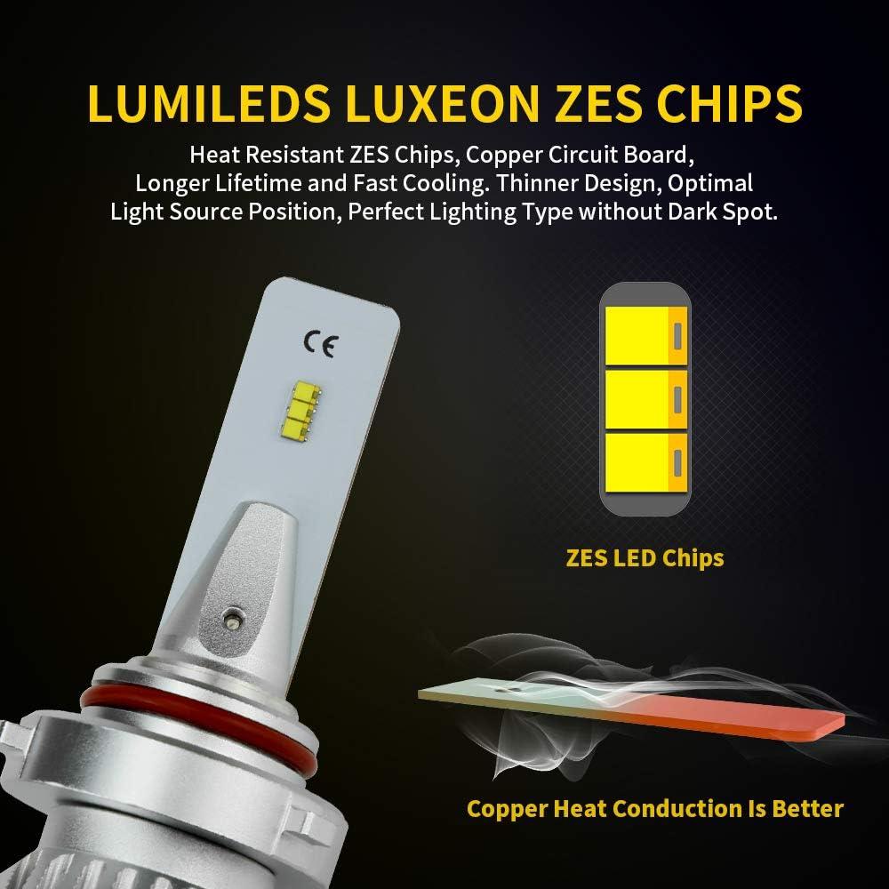 ZDATT 9005 Hb3 Led Headlight Bulbs 12000LM 100W High Beam 6000K Bright White Fog lamps Day Time Running Lights ZES Chips Conversion Kits