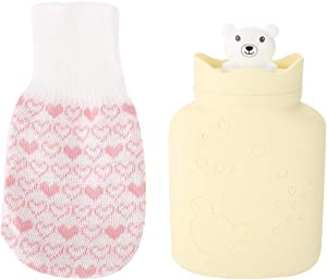 Hot Water Bottle Bag Soft Silicone Cute Bear Heat or Cold Therapy Water Bag with Knit Cover(Yellow)