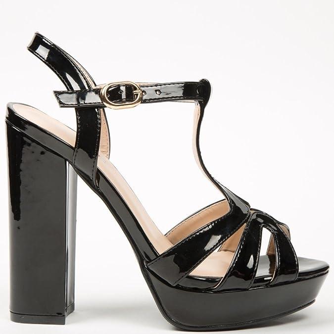 Ideal Shoes Sandali brillanti a piattaforma Omega, Nero (nero), Fr 40