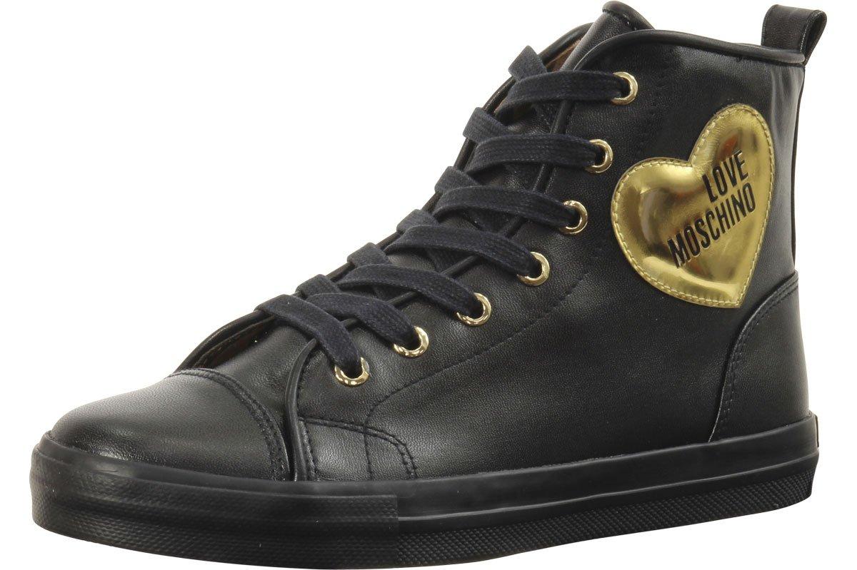 Love Moschino Women's Heart Logo Black Sneakers Shoes Sz: 9