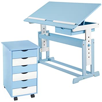 TecTake Kids Child Writing Table Homework Height Adjustable Study Desk With  6 Draver Office Cabinet Blue