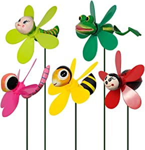 SUNPRO Garden Decor Pinwheels, 5-Pack Colorful 3D Lovely Insect Whirligig Wind Spinner Windmill Toys for Garden Yard Lawn Decorations Baby Kids (5PCS Mix Set)