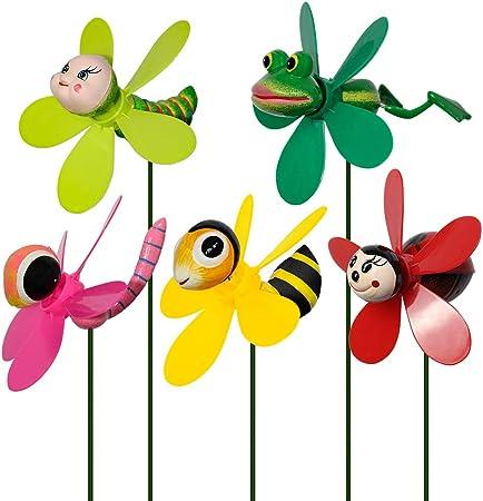URMOSTIN 3D Animal Molinillo de Viento Spinner Viento Perinola Jardín Decoración, Juguete Infantil para Exterior, 5 Piezas: Amazon.es: Hogar