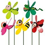 SUNPRO Garden Decor Pinwheels, 5-Pack Colorful 3D Lovely Insect Whirligig Wind Spinner Windmill Toys for Garden Yard Lawn Dec
