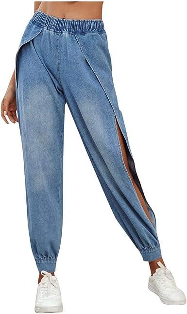 Amazon Com Pantalones De Yoga Para Mujer De Tela Vaquera Con Corte Alto Comodos Y Sueltos Boyfriend S Clothing