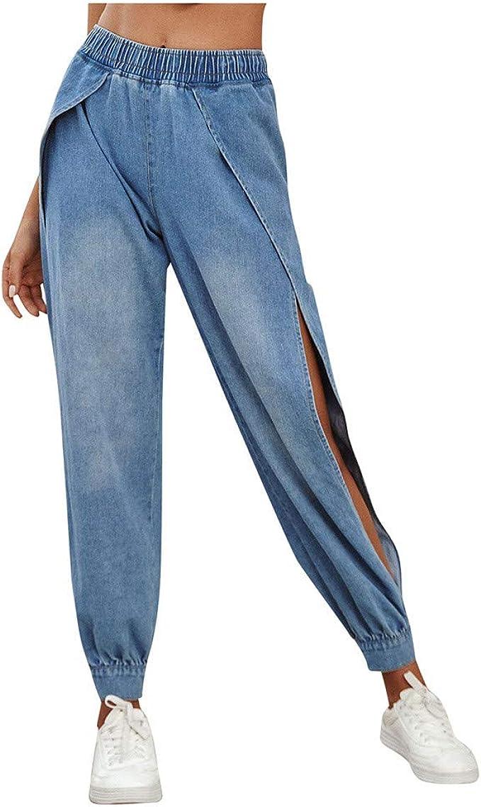 Salucia Damen Jeans Hose Mit Schlitz Boyfriend Baggy High Waist Jeanshose Mit Gummizug Amazon De Bekleidung
