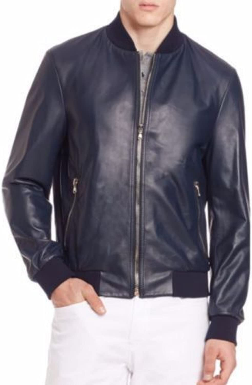 brandMe Mens Genuine Leather Pure Lambskin Biker Jacket MM342