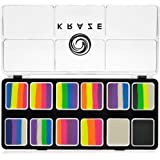 Kraze FX Neon Pop 1-Stroke 12 Split Cake Palette (6 gm) with 2 Brushes - Professional UV Glow Blacklight Reactive Body & Face