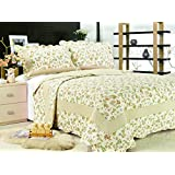 """All for You 3-piece Reversible Bedspread/ Coverlet / Quilt Set-orange, pink, purple, blue flowers and sage green leaves prints (Full/Queen-86""""x 86"""")"""