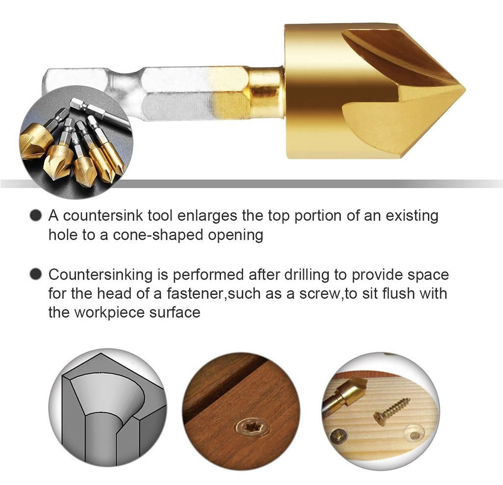 Countersink Drill Bit- 6PCS 90 Degree HSS 1/4\'\' Hex Shank 5 Flute Countersink Drill Bit Set for Wood Quick Change Bit 6mm-19mm