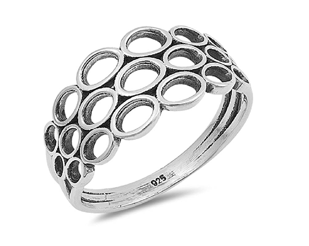 Princess Kylie Oxidized Sterling Silver Circles Designer Ring