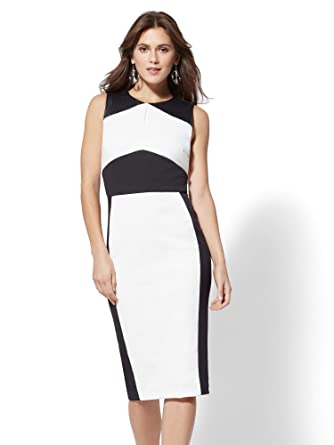 a6fb03d733 Image Unavailable. Image not available for. Color  New York   Co. Women s Petite  Faux-Leather Colorblock Sheath Dress ...