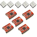 Aiskaer 5 Pcs A4988 Stepstick Stepper Motor Driver Module + Heat Sink for 3d Printer Reprap