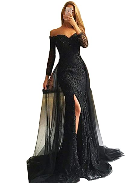 Prom Dresses Detachable Skirt 2019 Mermaid Evening Gown Off