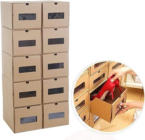 Burrby Almacenamiento Cajas de Zapatos Cajas de cartón, 10 Unidades Unidades Cajones Organizador Modular Soporte Plegable Tidy Zapato de tacón Alto con Tapas, Tamaño de Cada Caja 11.8