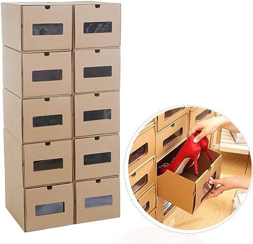Chriskopher - Cajas de cartón para Zapatos con cajón apilables (10 ...