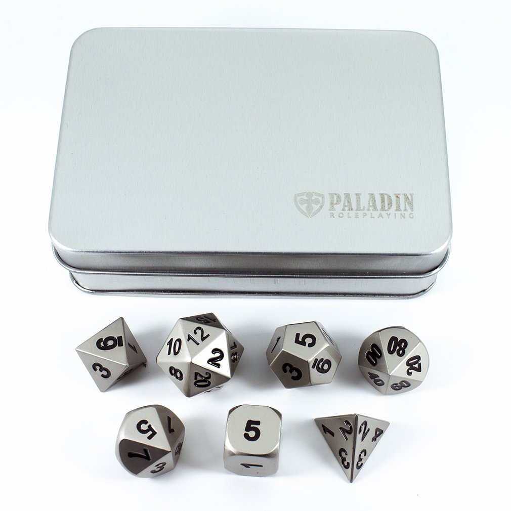 in Presentation Case Full Polyhedral Set Paladin Roleplaying Silver Metal Dice