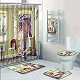 PRUNUSHOME 5-piece Bathroom Set-Includes Shower Curtain Liner,the elephant in the room window and babycombination concept Print Bathroom Rugs Shower Curtain/Bath Towls Sets(Large)