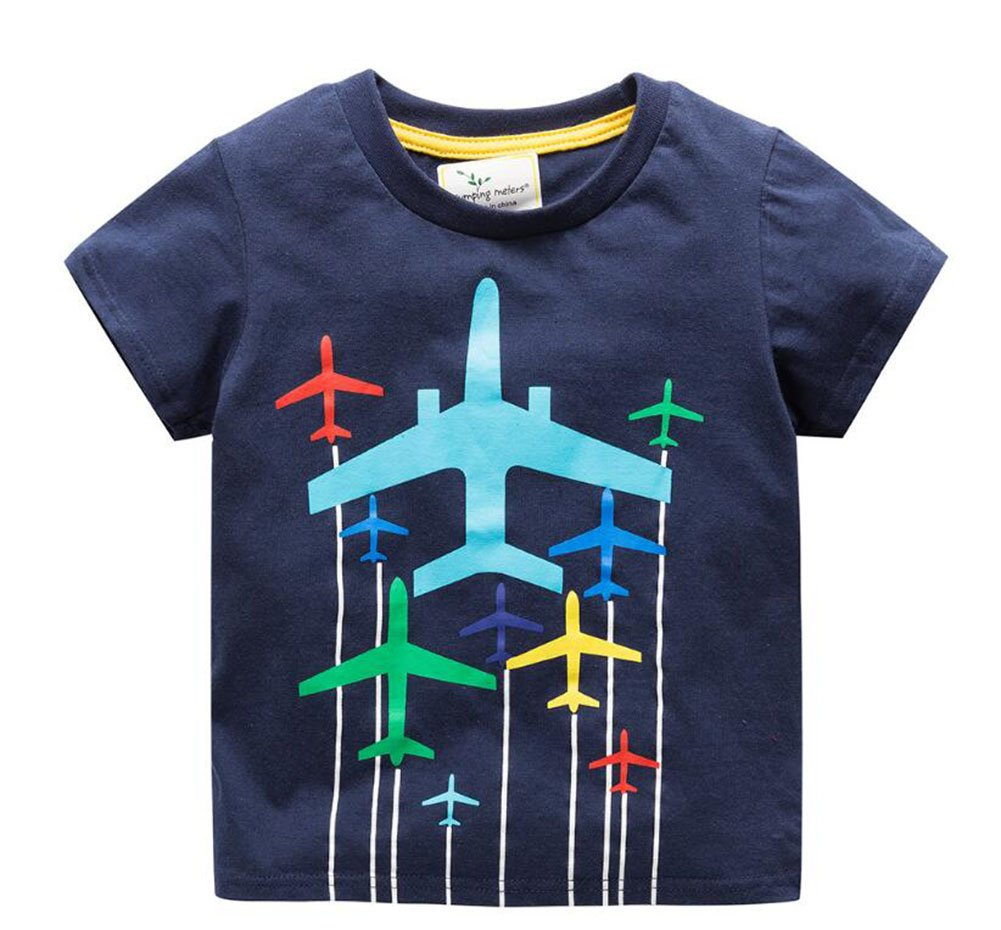 Onlyso Toddler Little Boys Chromatic Airplane Tees Shirts Tops (6T, Blue)