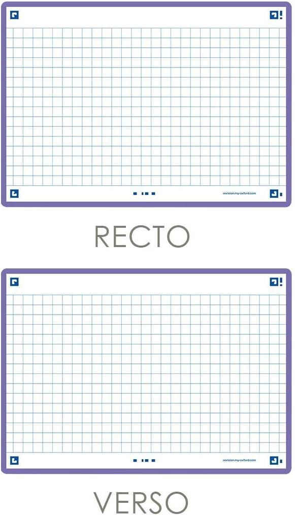 10, 5 x 14, 8cm Oxford Flash 2.0 Lot de 80 Fiches Flash Cards Format A6 cadre Lilas petits carreaux Recto//Verso Fiches Bristol