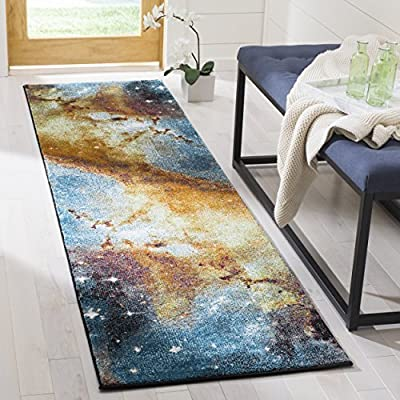 "Safavieh Galaxy Collection GAL109D Orange and Multi Runner (2'2"" x 8') - Stunning polypropylene fibers make this rug soft and luxurious to the touch The power loomed Construction adds durability to this rug, ensuring it will be a favorite for many years The modern, astronomical Pattern of these rugs will give your room a fresh accent - runner-rugs, entryway-furniture-decor, entryway-laundry-room - 610MGaAj4uL. SS400  -"