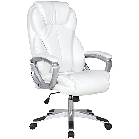Amazon.com: 2xhome   White   Deluxe Professional PU Leather Tall And Big  Ergonomic Office High Back Chair Boss Work Task Computer Executive Comfort  ...