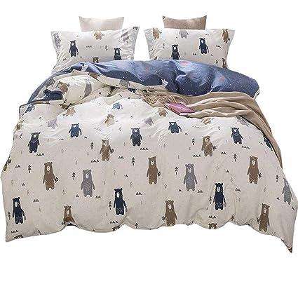 76b57e846d75b Kids Cartoon Twin Size Duvet Cover Set Cotton Forest Bear Print Reversible  Bedding Cover Set Modern Boys Girls Duvet Cover Set for Baby Teens Adults 3  ...