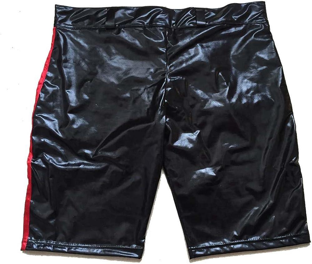 Fashion Queen Shiny Men Underwear Boxer Shorts Red Zipper Pants Dancing Clubwear