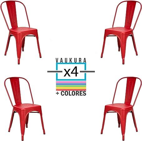 Vaukura Silla Tolix (Pack 4) - Silla Industrial Metálica Mate (Rojo): Amazon.es: Hogar