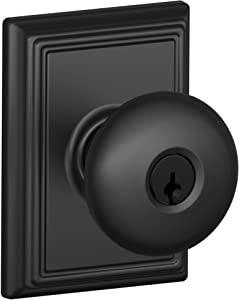 Schlage F51A-PLY-ADD Keyed Entry Plymouth Door Knobset with Decorative Addison R, Matte Black