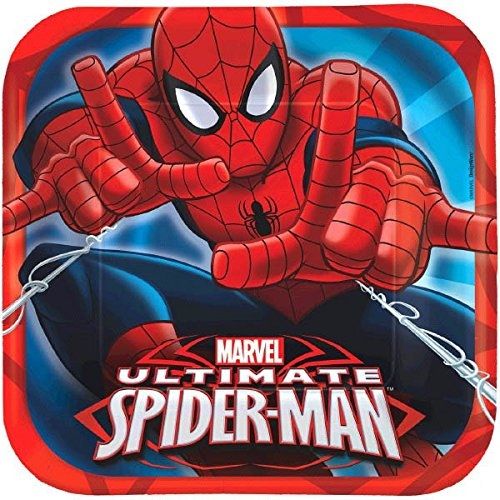 Blue Square Luncheon Plate - Spidey-Cool Spider-Man Birthday Party Square Luncheon Plates Tableware, Pack Of 8, Red/Blue , 9