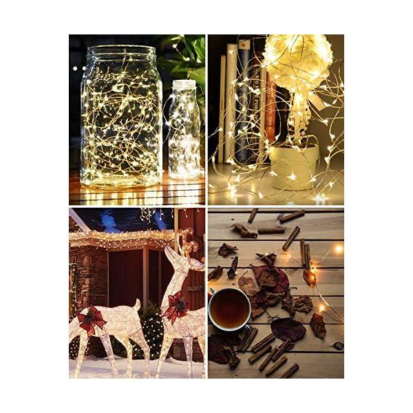 Litogo Luci LED Batteria, Catena Luminosa 5m 50 LED Fairy Light Filo Rame Ghirlanda Luminosa Lucine LED Decorative Waterproof per Camere da Letto Giardino Casa Feste Natale Matrimonio (Bianco Caldo) 7 spesavip