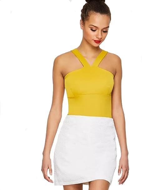 ab2c6145af Amazon.com  Verdusa Women s Casual Sleeveless Cut Sew Solid Halter Bodysuit   Clothing