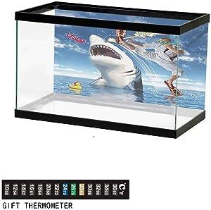 Aquarium background,poster fish tank background,Unusual Marine Navy Life Animals Fish Sharks with Karate Kid and Comics Balloon Art Underwater Poster Fish Tank Wall Decorations Sticker L24 X H24 inch